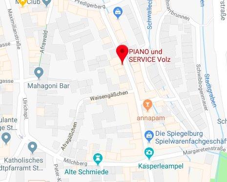 Piano & Service Volz in der Bäckergasse Augsburg